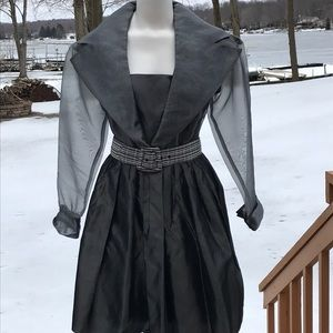Vintage Evening Chic crepe & satin dress 12